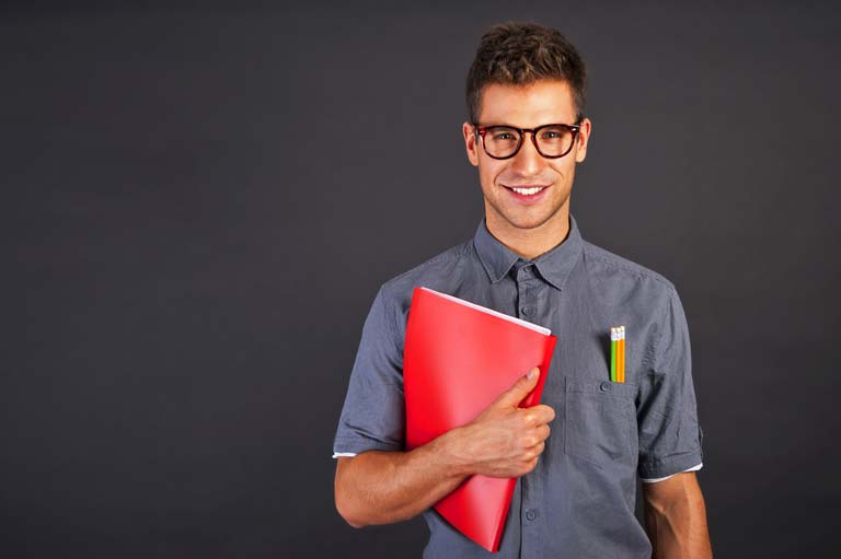 Man with red CV folder in glasses